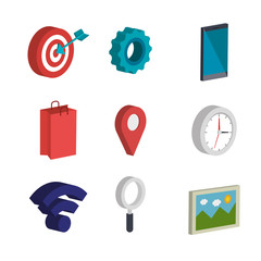 electronic commerce isometrics icons