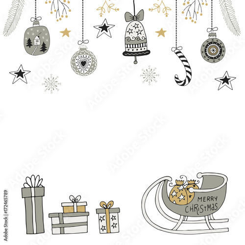 christmas card with hand drawn doodle decor elements christmas balls boxes and santa sledge