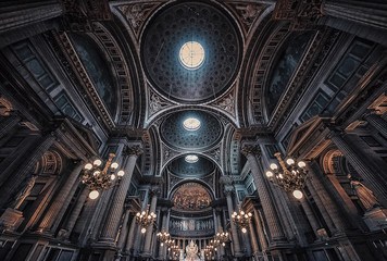 The ceiling inside La Madeleine church in Paris