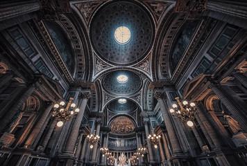 The ceiling inside La Madeleine church in Paris