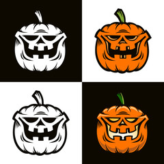 Smiling orange pumpkin is Halloween character in cartoon comic style. Four options - color and black and white. Vector illustration.