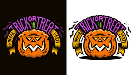 Halloween cartoon emblem - smiling pumpkin jack lantern with inscription Trick-or-treat. Options for dark and light background. Vector illustration.