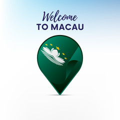 Flag of Macau in shape of map pointer or marker. Welcome to Macau. Vector illustration.