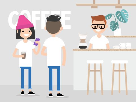 Cozy coffee shop. Modern lifestyle. Young customers in a queue for coffee. Small coffeeshop in a gentrified neighborhood. Hipster urban lifestyle / flat editable vector illustration, clip art.