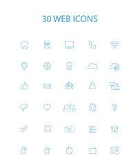 30 Blue Color Simple Web Icons, Vector, Illustration