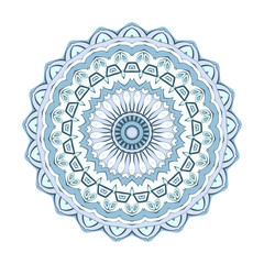 Decorative round element for creating an ornament. Bright mandala.