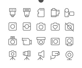 Camera UI Pixel Perfect Well-crafted Vector Thin Line Icons 48x48 Ready for 24x24 Grid for Web Graphics and Apps with Editable Stroke. Simple Minimal Pictogram