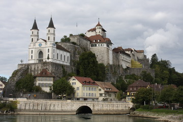 Aarburg Castle on the Aare River in Canton Aarau, Switzerland (large stitched file)