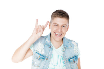 young man in denim isolated white background