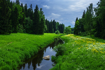 Summer landscape with river in the park of Pavlovsk, Saint-Petersburg
