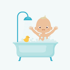 Happy baby taking bath
