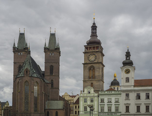 city centre Hradec Kralove panorama town hall and gothic cathedral with two towers  with clock in big square Czech republic