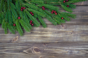 The branches were fir trees against a  tree background. New Year's background. Insert text