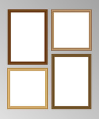 Set of four vector wooden frames with blank space for your picture or text - two square and two A4 size frames