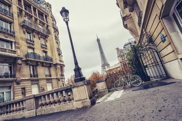 small paris street view of the Eiffel Tower in paris, france