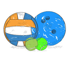 Set of retro styled sport balls, Vector illustration