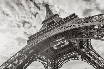 Eiffel Tower in black and white colors