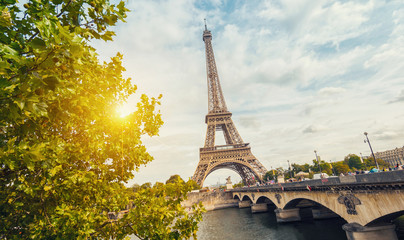 Paris, Eiffel tower at sunrise