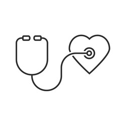 thin line stethoscope heart