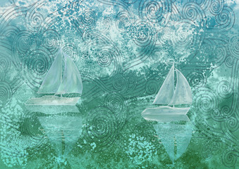 Stylized sea and boats. Painting on canvas. Bacground.