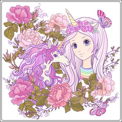 Girl and unicorn with multi-colored curly mane in roses garden.