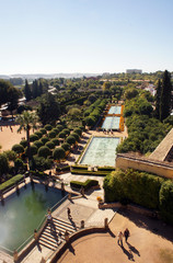 Aerial view of Alcazar in Cordoba, Spain
