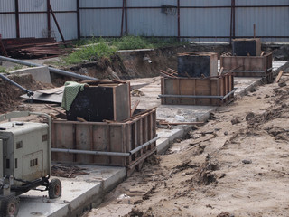 Underground precast concrete drainage under construction at the construction site in Seremban, Malaysia.