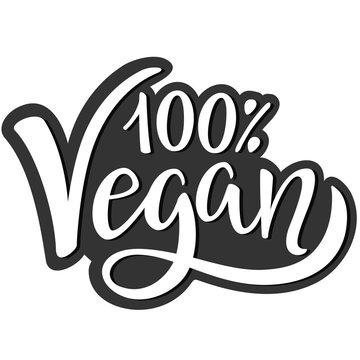 100% Vegan. Hand lettering. Label, tag, stamp. White background. Vector.