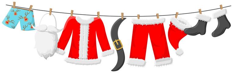 Weihnachtsmann Kostüm hängt an Leine