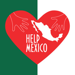 Mexico City Earthquake relief vector illustration. Helping hands, map of Mexico, Heart shape and text: Help Mexico. Great as donation or charity promotion poster or banner.
