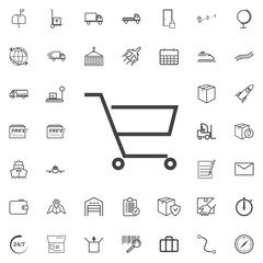 shopping cart line icon logistics transportation parcel shipping delivery icons set Flat isolated on the white background. Vector illustration.Trendy style for graphic design logo