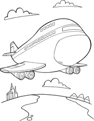 Garden Poster Cartoon draw Jumbo Jet Aircraft Vector Illustration Art