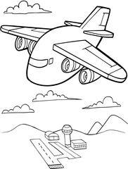 Cute Aircraft Vector Illustration Art