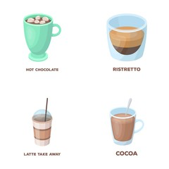 Ristretto, hot chocolate, latte take-away.Different types of coffee set collection icons in cartoon style vector symbol stock illustration web.