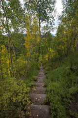 Meditative fall staircase in the mountains