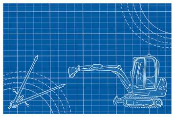 Excavator line art vector illustration on a blueprint background.  Compass drawing tool and decorative lines