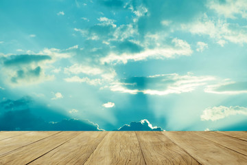 Empty top wooden table on cloud sky nature background