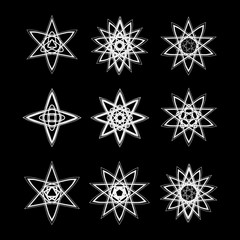 Geometric pattern icon star astrology set pentagram