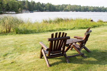 Two wooden Adirondack chairs in Eagle River, Wisconsin