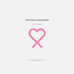 Pink heart ribbon sign.Breast Cancer October Awareness Month Campaign Background.Women health vector design.Breast cancer awareness logo design.
