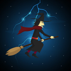 Halloween witch flying on broom and thunderbolt