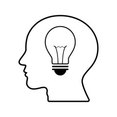 technology future light bulb head side view
