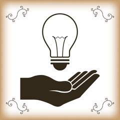 abstract creative idea holding hand  with light bulb background