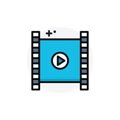Video concept Isolated Line Vector Illustration editable Icon