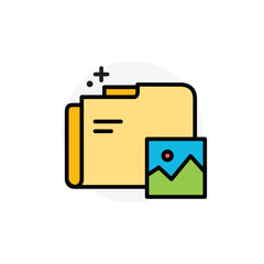 Image folder data concept Isolated Line Vector Illustration editable Icon
