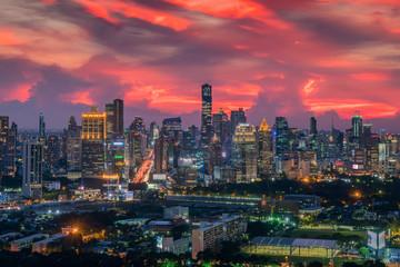 Bangkok city skyline with beautiful sunset sky,The Capital.Thailand
