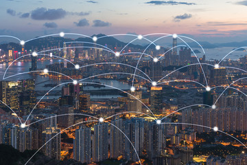 Hong kong cityscape with connection network technology concept