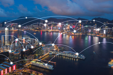 Wall Mural - Hong kong cityscape with connection network technology concept