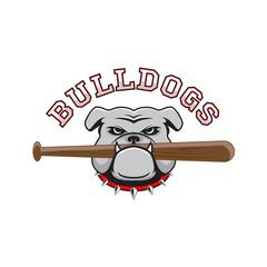 Logo bulldog with a baseball bat in the teeth