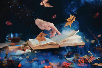 Still life with levitating book of spells, autumn leaves, red berries, jars and bottles on a dark background with rising mystic smoke and a hand in a black shirt with star print